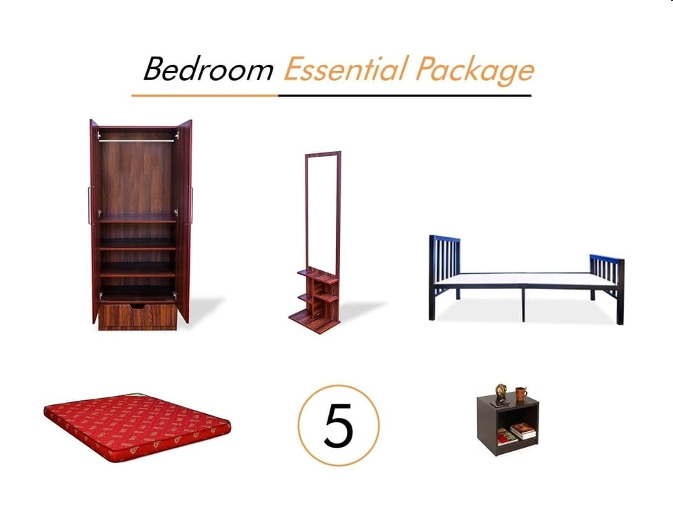 Bedroom essential package on rent rentals starting 735 for Bedroom furniture essentials