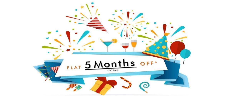 RentMacha Flat 5 month off offer banner - hyderabad, chennai, mumbai